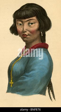 1842 à la main, gravure de M. Prichard's Histoire naturelle de l'homme, 'la femme des îles Aléoutiennes.' Banque D'Images
