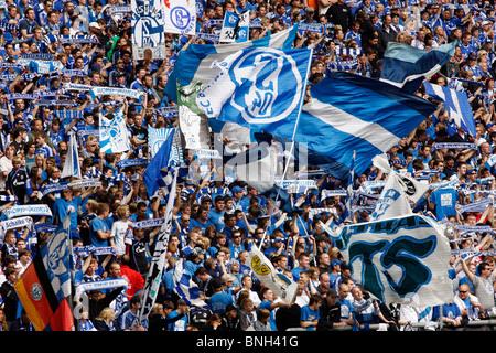 Le football, le soccer, le partisan de la major league football club allemand Schalke 04, dans la Veltins Arena Stadium.