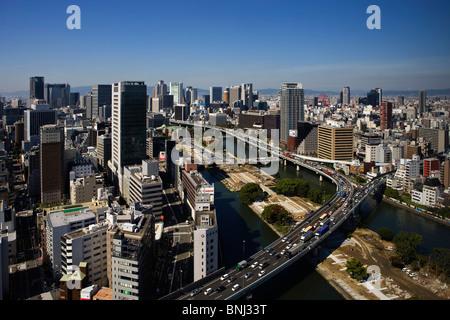 La ville d'Osaka Kansai Japon Asie ville ville le quartier Umeda finances skyline skyscraper immeubles de grande Banque D'Images