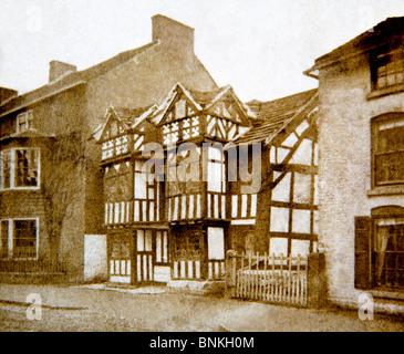 Royaume-uni, Angleterre, Cheshire, Prestbury, l'ancienne maison du Curé, 1860 photographie victorienne