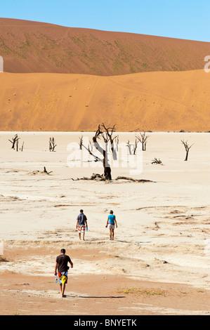 Les touristes visitant le Dead Vlei de Sossusvlei dans le désert de Namib Naukluft Park Central Namibie