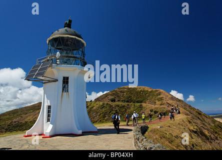 Phare du cap Reinga à la pointe septentrionale de l'Île du Nord de Nouvelle-Zélande Banque D'Images