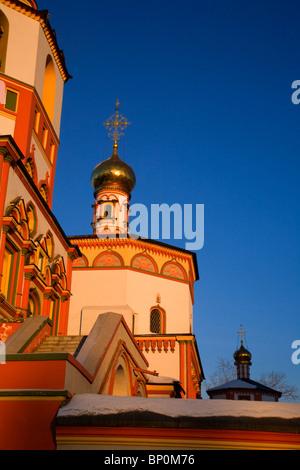 La Russie; Sibérie; Irkoutsk; un détail de l'une des principales cathédrales à Irkoutsk Banque D'Images