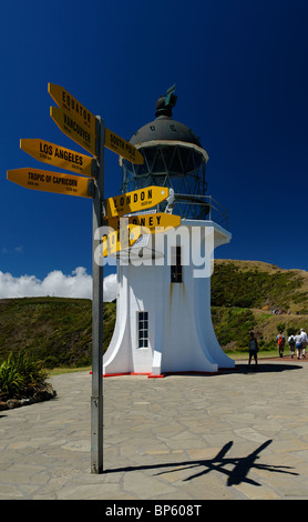 Phare du cap Reinga à la pointe septentrionale de l'Île du Nord néos-zélandais Banque D'Images