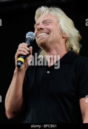 Sir Richard Branson au V Festival 2010, Highlands Park, Chelmsford, Essex, 21/08/10 Banque D'Images