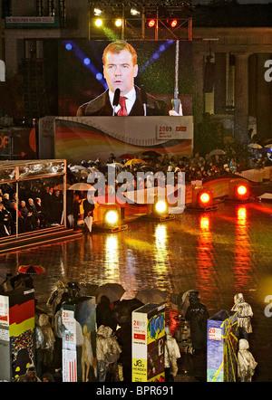 Le président Medvedev assiste aux célébrations sur le mur de Berlin Banque D'Images
