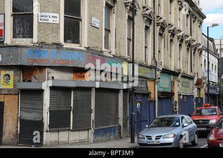 Vieux et bâtiments abandonnés, Gray's Inn Road, King's Cross, Londres, Angleterre, Royaume-Uni Banque D'Images