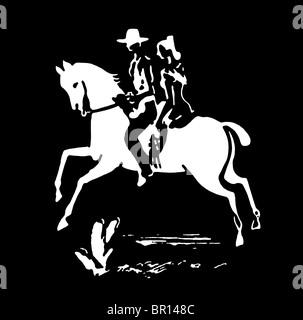Une version noir et blanc d'un vintage print d'une femme et d'un cowboy sur un cheval Banque D'Images