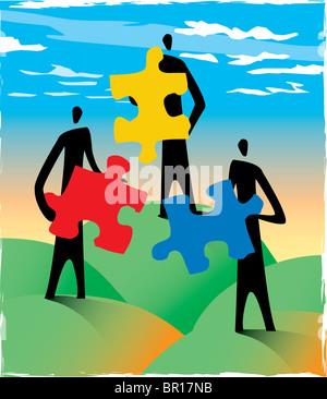 Trois personnes holding puzzle pieces Banque D'Images