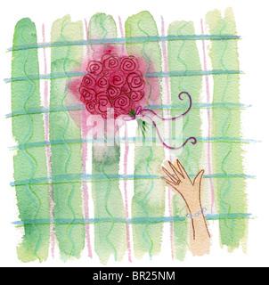 Attraper le bouquet de mariée Banque D'Images