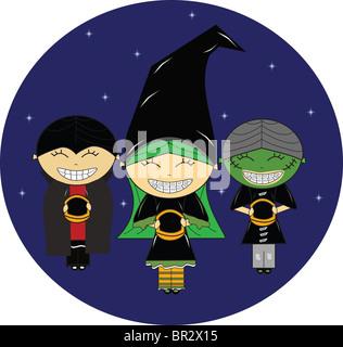 Trois enfants habillés en costumes de Halloween Banque D'Images