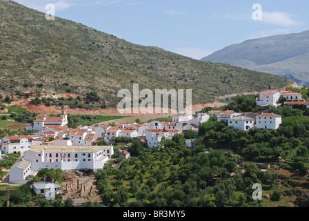 Vue sur les toits, Atajate, la province de Malaga, Andalousie, Espagne, Europe de l'Ouest. Banque D'Images