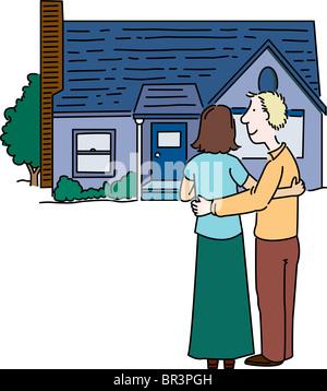 Un couple à la recherche d'une chambre à Banque D'Images
