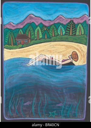 Une femme se détendre sur un tube intérieur sur l'eau avec une cabane à l'arrière-plan Banque D'Images