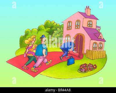 Un agent immobilier montrant une chambre pour un couple Banque D'Images