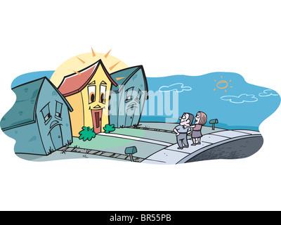 Un couple à la recherche de leur maison de rêve Banque D'Images