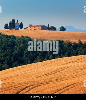 Capella di Vitaleta dans la Toscane Val d'Orcia Banque D'Images