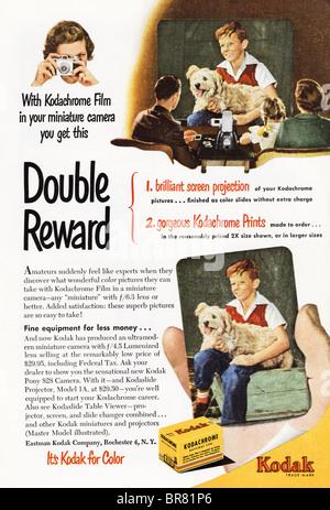 Le magazine américain annonce la couleur pour Kodak film Kodachrome vers 1950 Banque D'Images