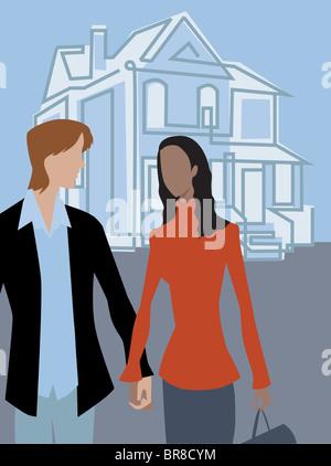 Un couple en train de marcher et tenir la main devant une maison Banque D'Images