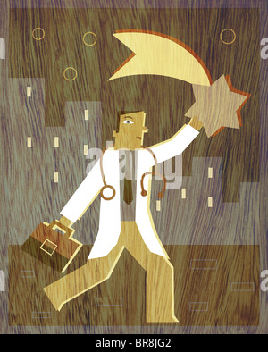 Un médecin attraper une étoile filante Banque D'Images