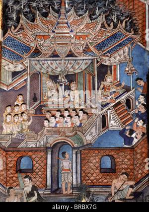 Détail de la peinture murale de la Sang Thong Tales, Viharn Laikam à Wat Phra Singh, Chiang Mai, Thaïlande