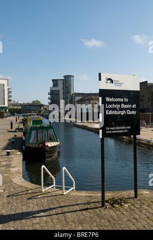 Des Barges à Lochrin Basin, Edimbourg Quay, sur l'Union Canal, Édimbourg Banque D'Images