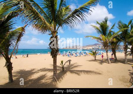 La plage de Las Canteras à Las Palmas, Gran Canaria, Îles Canaries, Espagne Banque D'Images