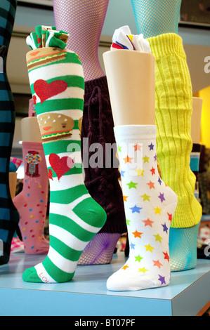 Chaussettes dans une vitrine d'une boutique de chaussettes, Las Vegas USA Banque D'Images