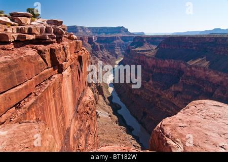 Grand Canyon et la rivière Colorado vu de Toroweap Point, Tuweep Area, North Rim du Grand Canyon, Arizona, USA Banque D'Images