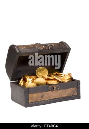 Coffre au Trésor rempli de pièces d'or Banque D'Images