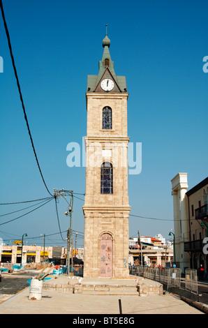 La vieille tour de l'horloge à Jaffa, la place de l'horloge, construit en 1906 en l'honneur du Sultan Abed al-Hamid Banque D'Images