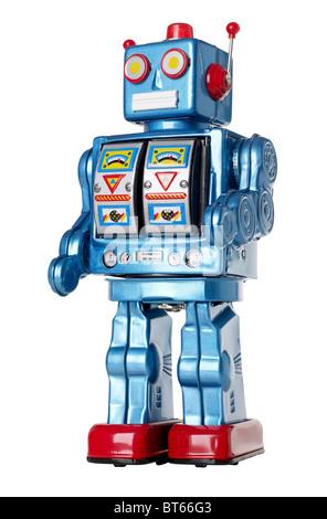 Blue Tin Toy Robot Banque D'Images