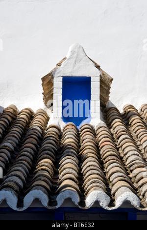 Très petite fenêtre bleue sur un vieux toit. Banque D'Images