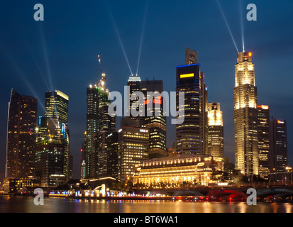 Singapour skyline at night, vu de l'Esplanade