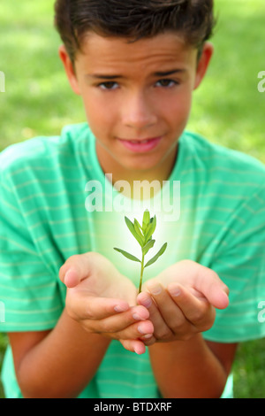 De plus en plus de germes végétaux glow ligth sur adolescents hands outdoors Banque D'Images