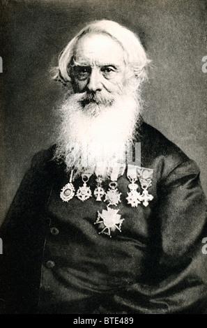 Samuel Morse, l'inventeur de l'en code Morse, un portrait photographique par Brady avec ses nombreuses médailles Banque D'Images