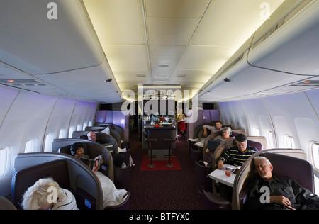 Cabine de classe supérieure sur un Boeing 747-400 de Virgin Atlantic Airways en provenance de Manchester (Royaume Banque D'Images