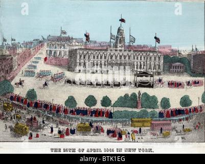 Abraham Lincoln's Funeral procession et en voiture devant l'Hôtel de Ville le 25 avril 1865. Le cortège de New York Banque D'Images