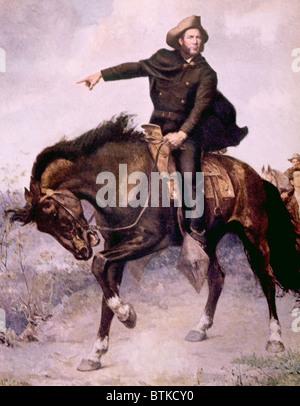 Le général Sam Houston à la bataille de San Jacinto en 1936, peinture de S. Thomas Seymour Banque D'Images