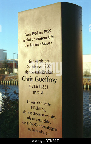 Pour Chris Gueffroy Memorial, la dernière victime du Mur de Berlin, Berlin, Allemagne Banque D'Images