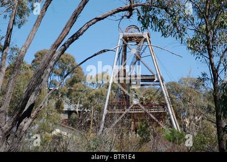 L'Australie, le Centre de Victoria, le Chewton, Wattle Gully, voir de vieille mine d'or Banque D'Images