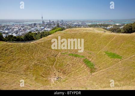 Cratère, sur le mont Eden, Auckland, île du Nord, Nouvelle-Zélande Banque D'Images