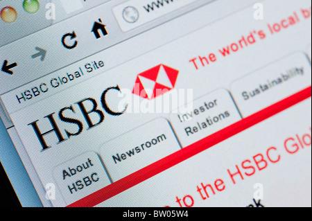 Détail de capture d'écran du site internet de la banque HSBC la banque en ligne Page d'accueil Banque D'Images