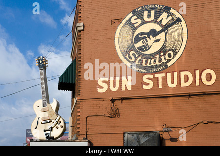 Le quartier historique de Sun Studio sur Union Avenue, Memphis, Tennessee, États-Unis Banque D'Images