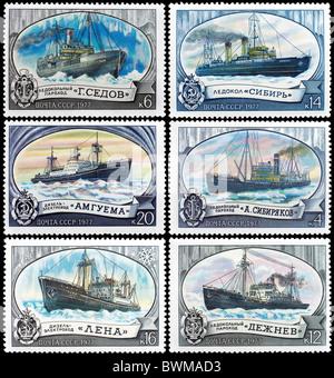 Urss - circa 1977: timbre-poste prussien montre des brise-glaces, circa 1977 Banque D'Images