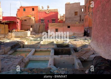 Maroc Marrakech Rues Rouges Travail Tanneries Banque D'Images