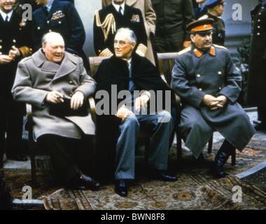 Conférence de Yalta 1945 Winston Churchill, Franklin D. Roosevelt, Joseph Staline Château Liwadija Le premier minist Banque D'Images
