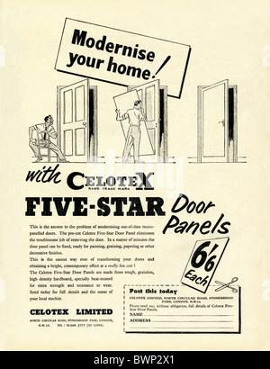 Annonce pour Celotex HDF Panneaux de portes, un autre produit dans le dépliant pratique Magazine, 1956 Banque D'Images