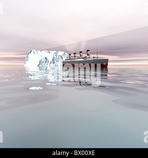 TITANIC - le magnifique paquebot près d'icebergs dans l'océan Atlantique nord. Banque D'Images