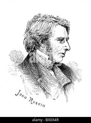 Image d'Archive historique des figures littéraires. C'est John Ruskin.